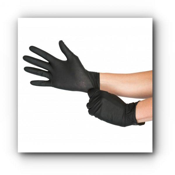 Manusi hybrid latex-nitril negre