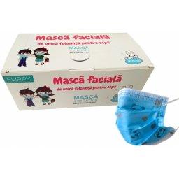 masca 3 pliuri copii-albastre